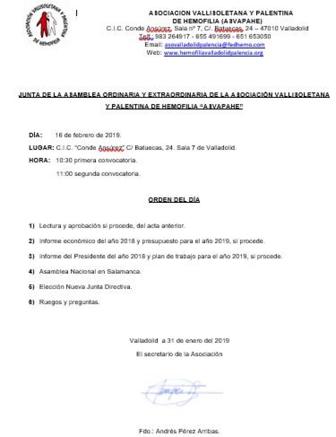 """JUNTA DE LA ASAMBLEA ORDINARIA Y EXTRAORDINARIA DE LA ASOCIACIÓN VALLISOLETANA Y PALENTINA DE HEMOFILIA """"ASVAPAHE"""""""