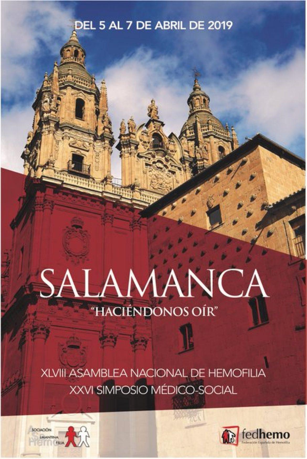 Asamblea Nacional De Fedhemo, que tendrá lugar los próximos 5-7 de abril 2019 en Salamanca